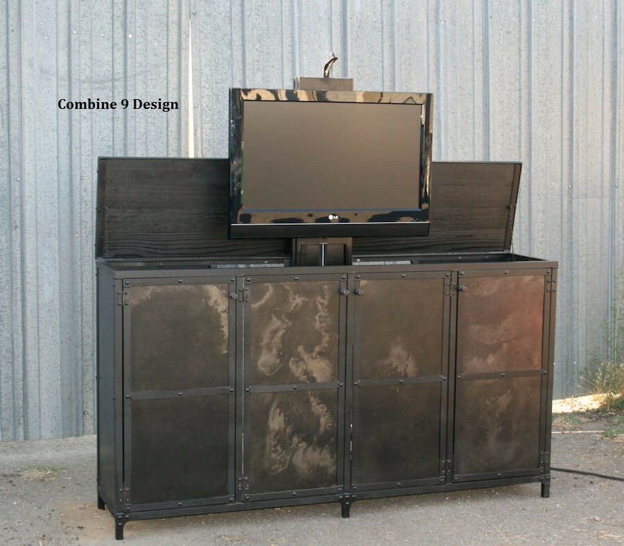 tv lift cabinet vintage industrial style modern urban motorized tv stand ebay. Black Bedroom Furniture Sets. Home Design Ideas