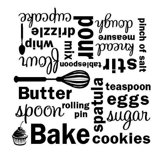 Kitchen Wall Sayings Vinyl Lettering: KITCHEN Bake Mixer Vinyl Wall Decal Wall Quote Subway Art Letters Sticker Words