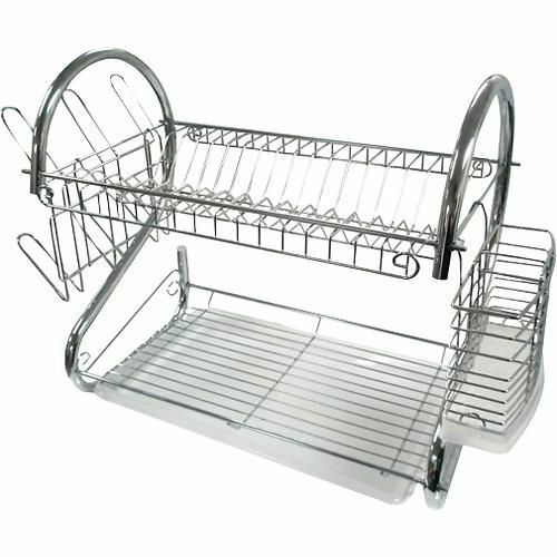 2 tier chrome plate dish cutlery cup drainer rack drip tray plates holder silver ebay. Black Bedroom Furniture Sets. Home Design Ideas
