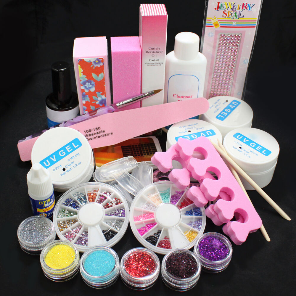 DIY Glitter Powder Glue File Nail Art Top Coat UV Gel Tips