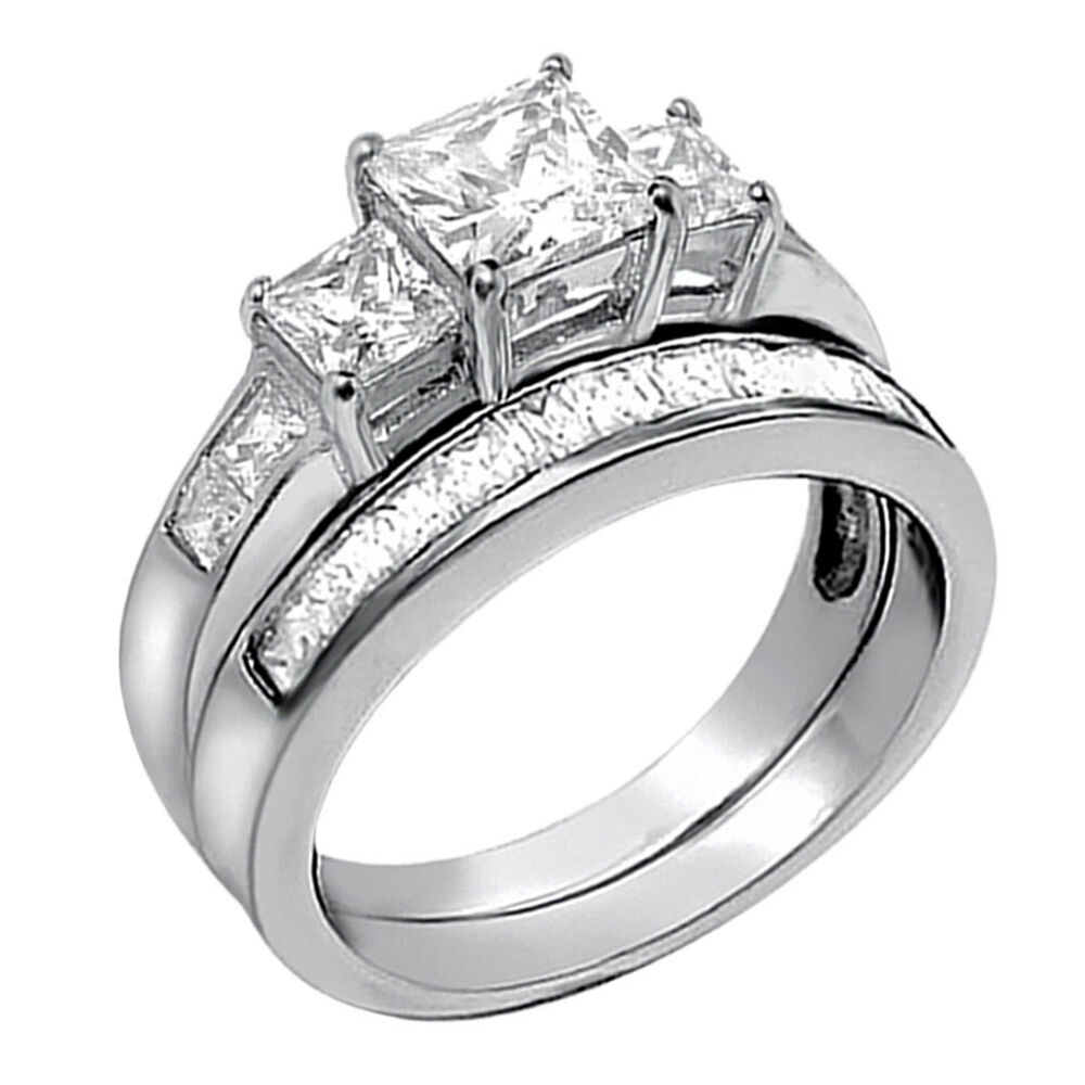 2 pcs women princess cut 925 sterling silver wedding