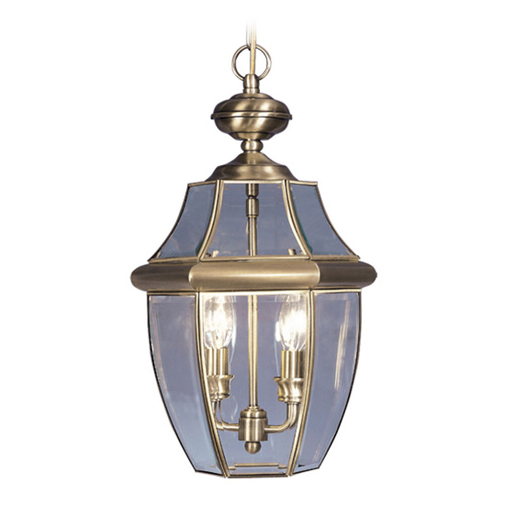 2 Light Livex Antique Brass Monterey Outdoor Hanging Lighting Fixture 2255 01 Ebay
