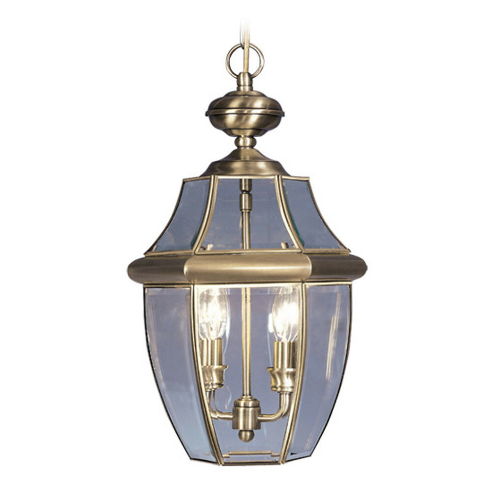 2 light livex antique brass monterey outdoor hanging for Hanging outdoor light fixtures
