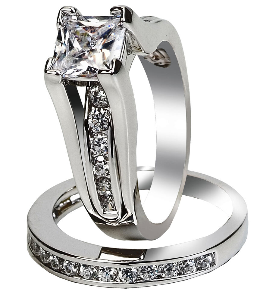 women 39 s 925 sterling silver princess cut cz wedding ring. Black Bedroom Furniture Sets. Home Design Ideas