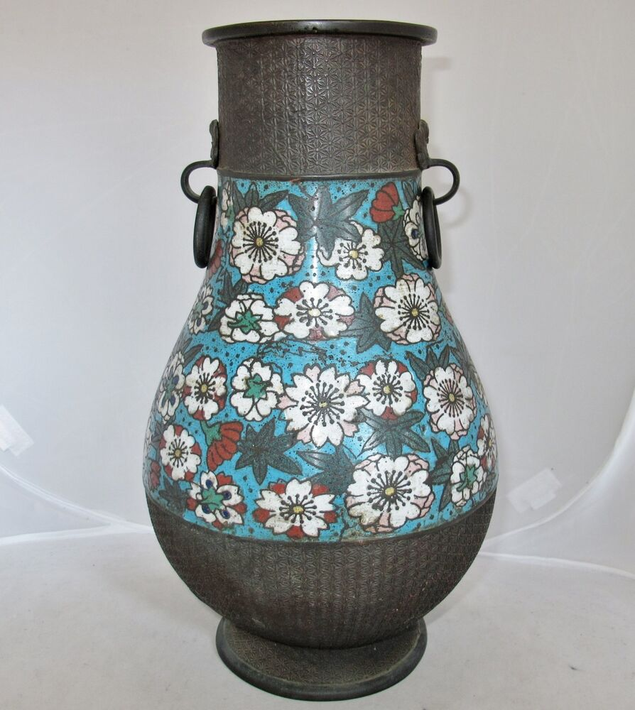 13 1 Quot Antique Japanese Champleve Metal Vase With Flowers