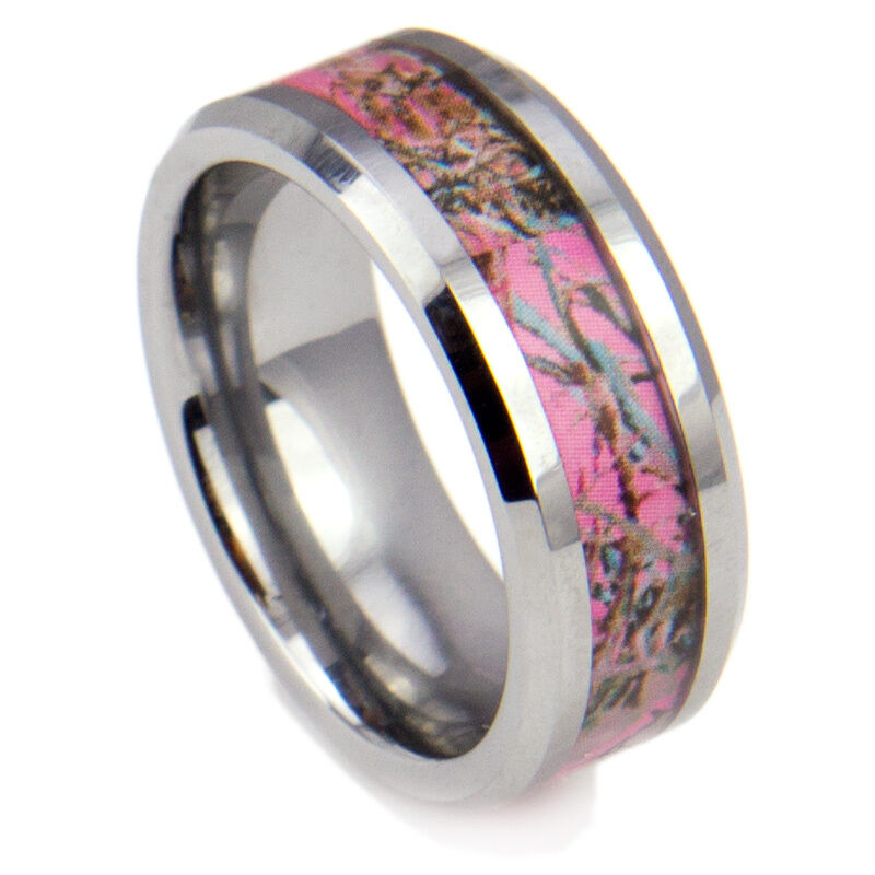 8mm tungsten carbide ring women39s camo hunting camouflage for Tungsten camo wedding rings