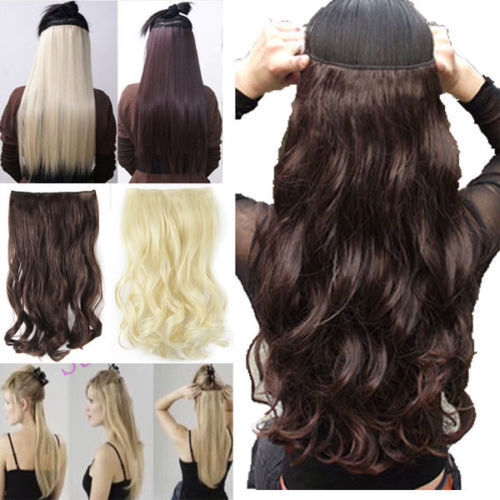UK Seller Clip in hair extensions one piece half full head real ...