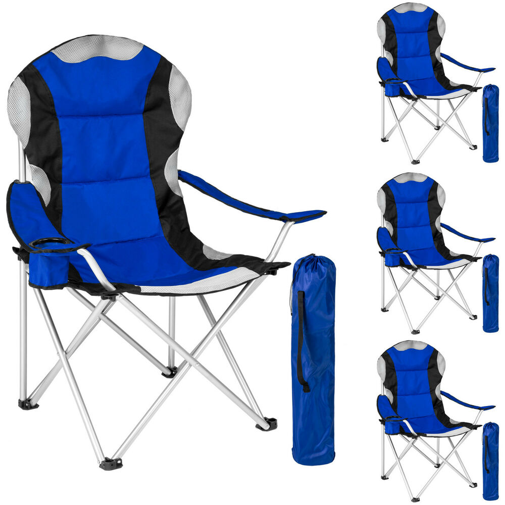 4x heavy duty padded folding camping directors chair with Chaise confortable