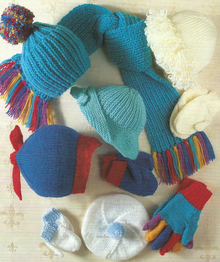 Baby Girls Boys Hats Scarf Mittens Gloves Knitting Pattern ...