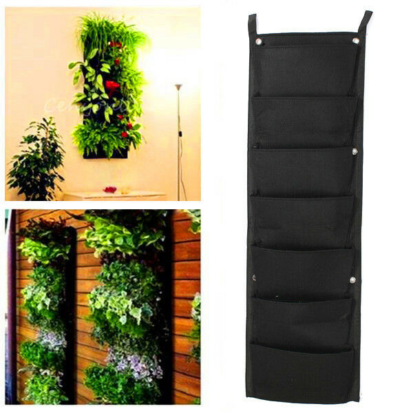7 pocket indoor outdoor wall balcony herbs vertical garden for Balcony vertical garden