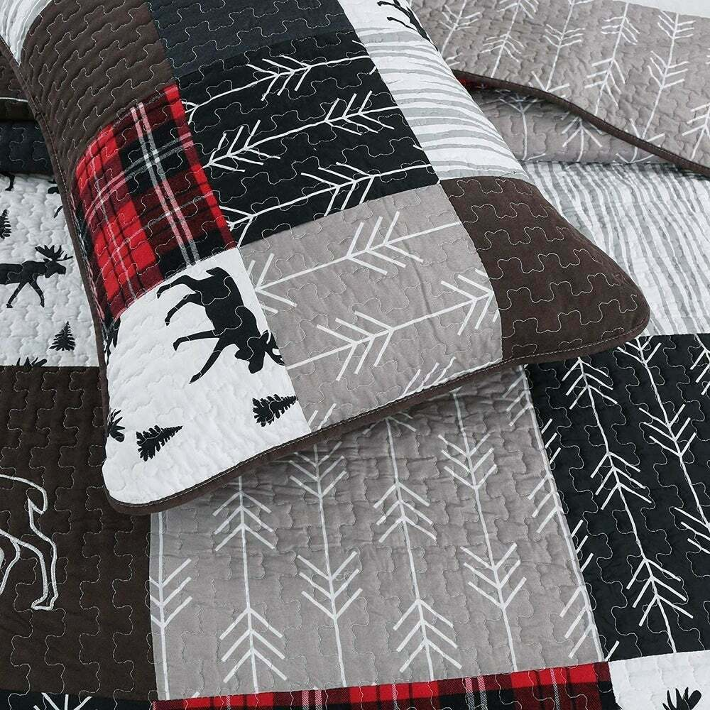 Bedding Decor: BEAUTIFUL 7PC SUPER SOFT MODERN ELEGANT IVORY BROWN RED