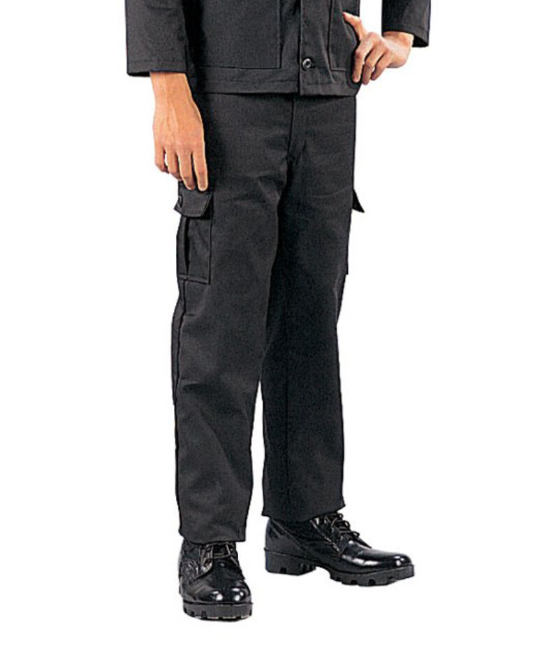 Kids boys black tactical swat police military style bdu airsoft pants