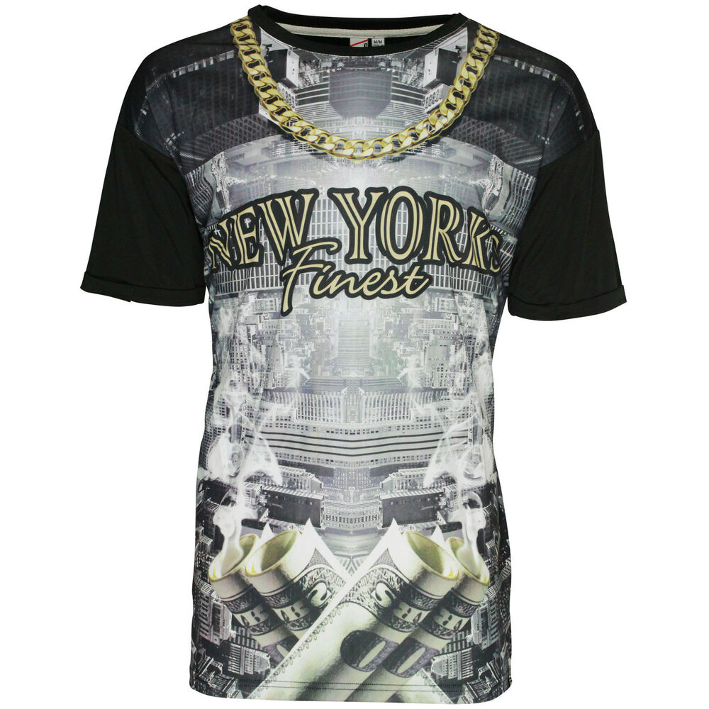 Mens soulstar t shirt new york finest city chain dollar for New york printed t shirts
