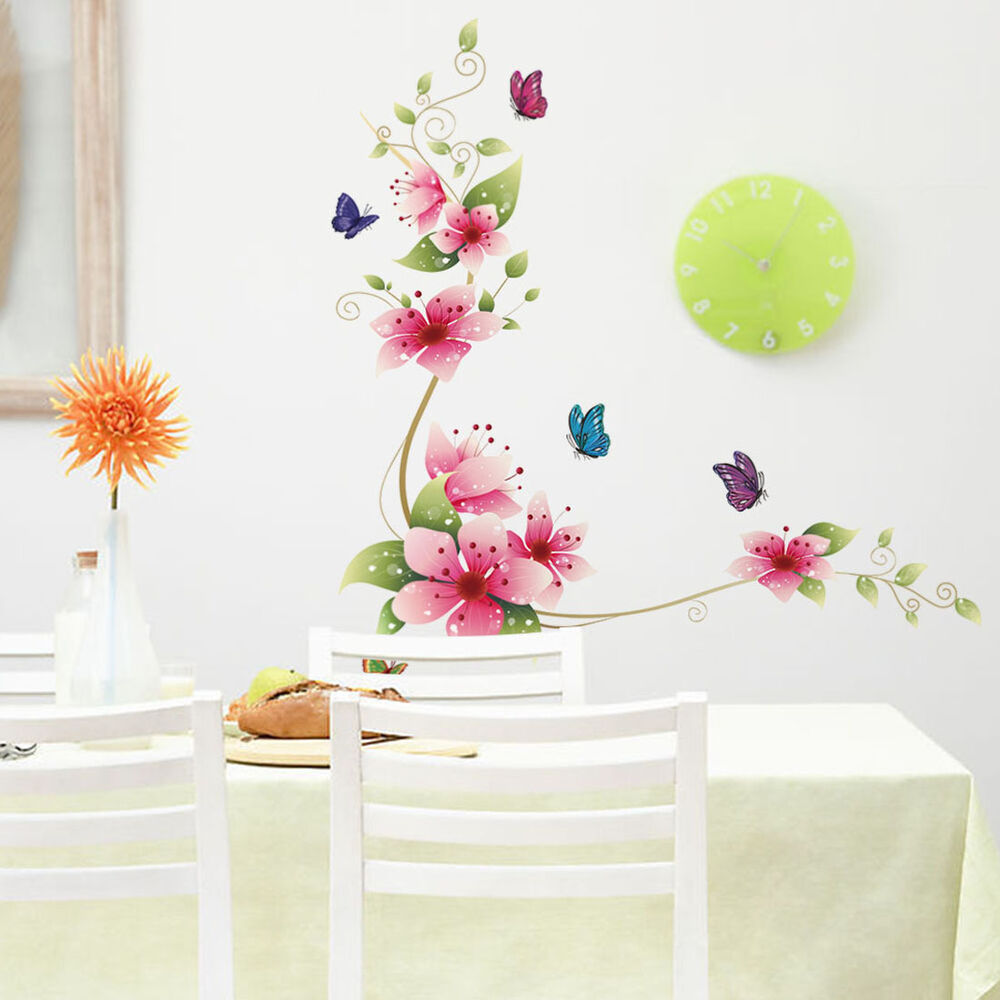 Wall Stickers Decal Removable Kid Art Pink Flower