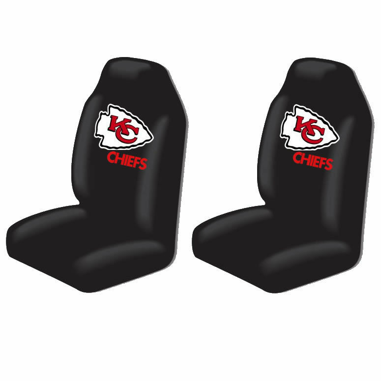 2pc official nfl kansas city chiefs high back seat covers cars trucks vans suvs ebay. Black Bedroom Furniture Sets. Home Design Ideas