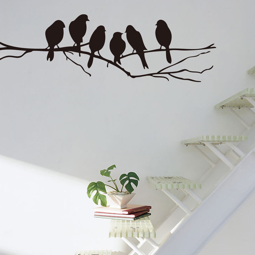 wall stickers decal removable art home mural decor black bird tree branch ebay. Black Bedroom Furniture Sets. Home Design Ideas