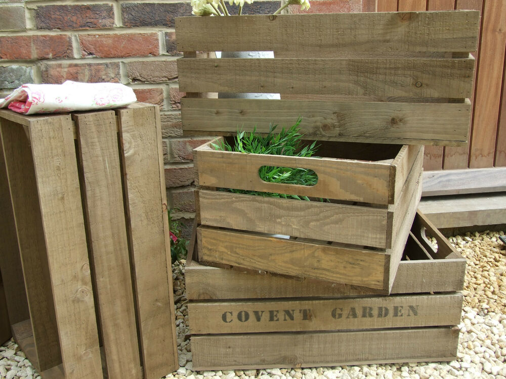 Vintage style wooden apple crate storage box fruit crates for How to make apple crates