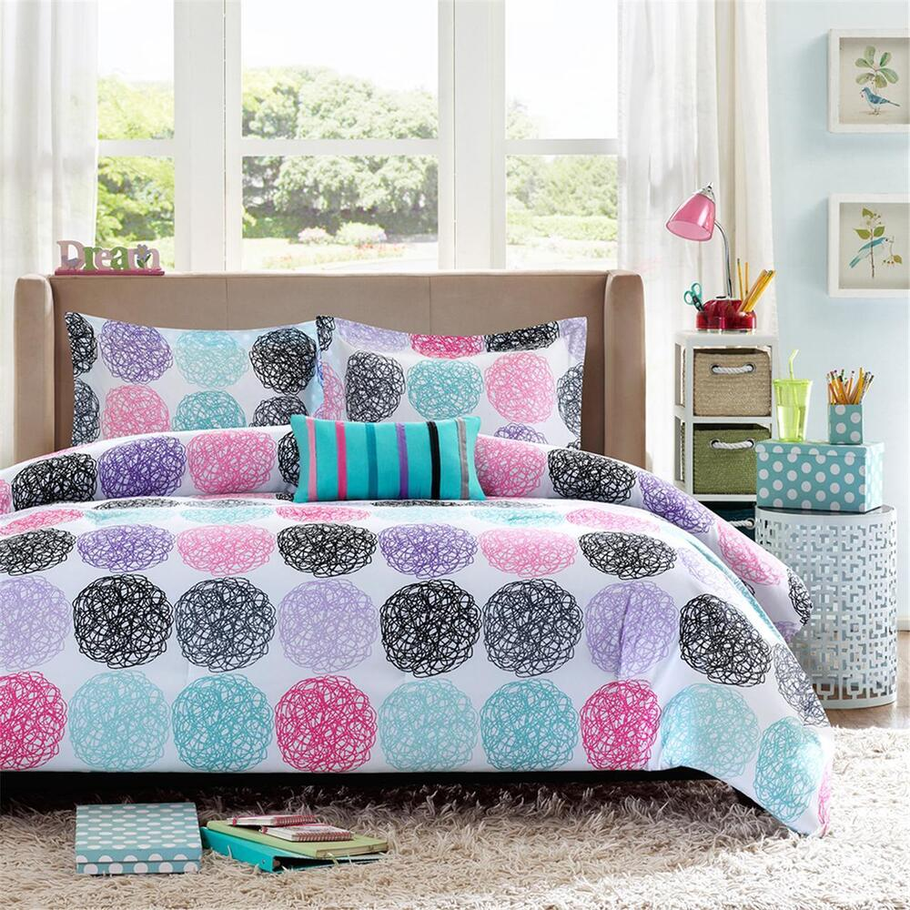 beautiful modern pink purple blue aqua teal green polka dot girls comforter set ebay. Black Bedroom Furniture Sets. Home Design Ideas