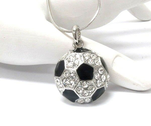 New Crystal Amp Silver Soccer Ball Sports Pendant Necklace W