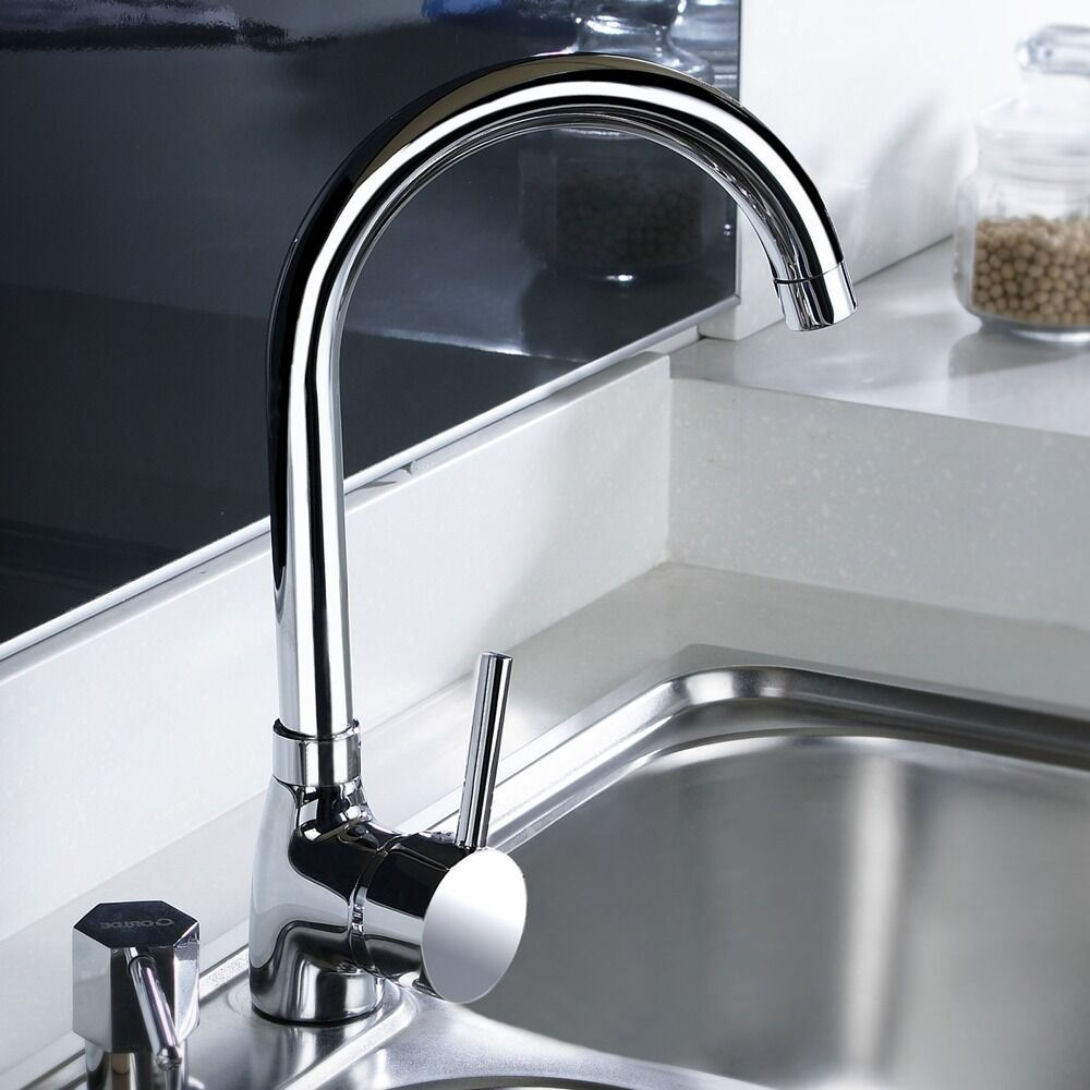 kitchen taps and sinks kadaya chrome modern single lever swivel spout kitchen 6229