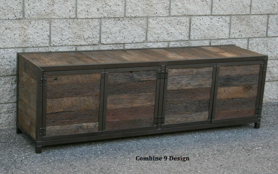 Rustic handmade media console Credenza, Buffet Reclaimed  -> Wood Tv Sideboard