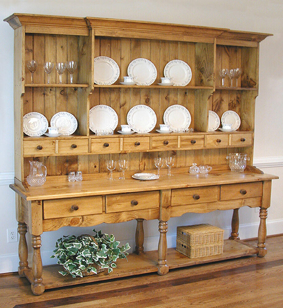 Large Pine French Farmhouse Wide Hutch Beaded Board Back