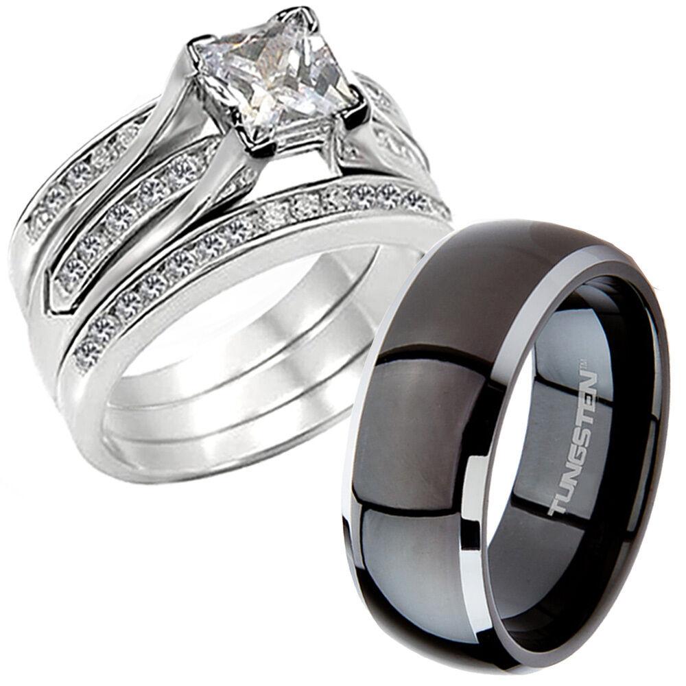 wedding band ring hers cz 925 sterling silver his black titanium wedding 8421