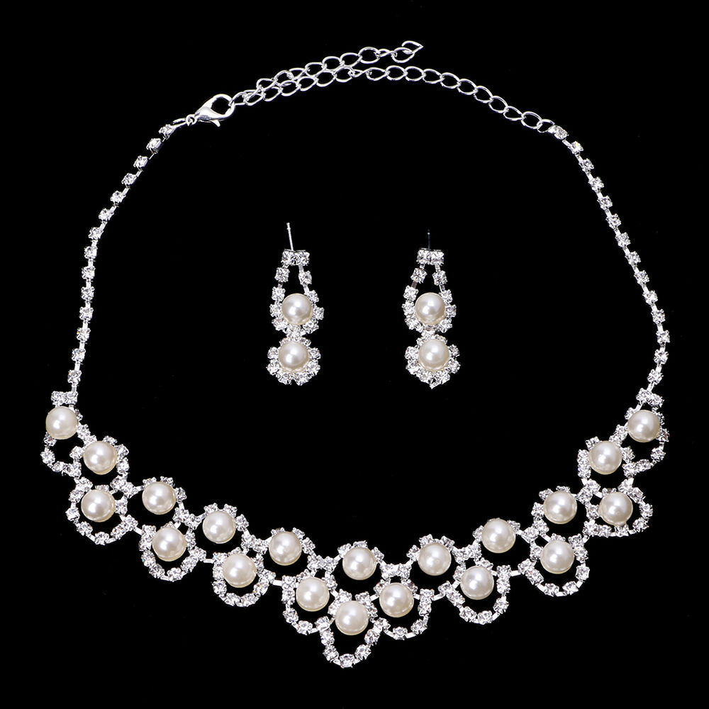 Rhinestone Crystal Pearl Necklace Earring Plated Jewelry Set For Wedding Bridal | EBay