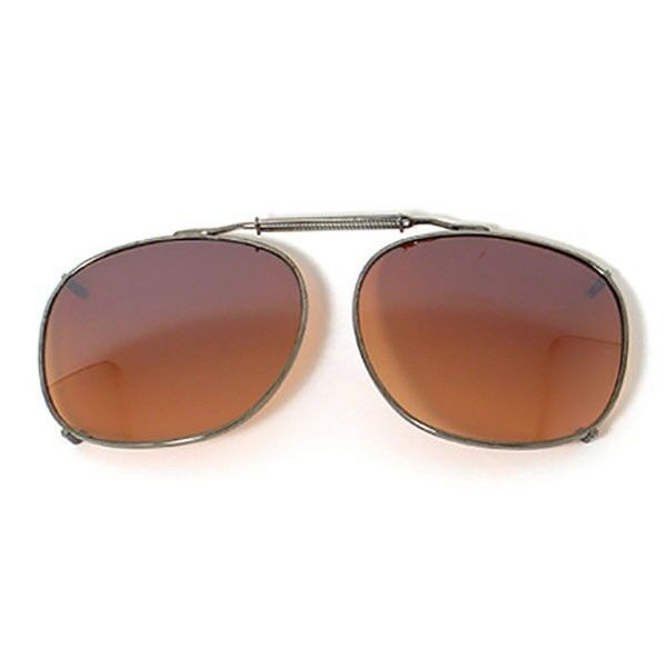 New Mens UV400 Lens Clip on Driving Sunglasses Large Brown