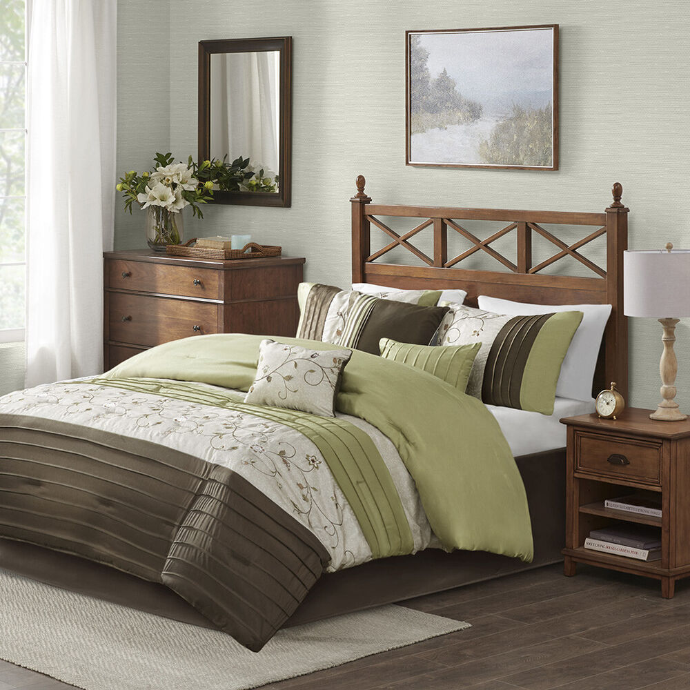 brown bed sets beautiful 7pc modern luxurious green brown texture 10950