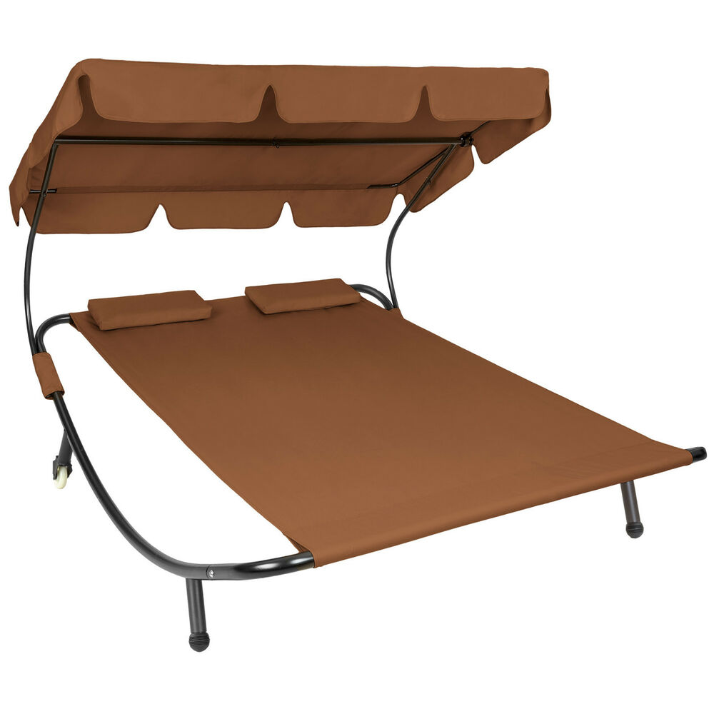 double outdoor garden bed sun lounger patio furniture roof 2 pillows brown ebay. Black Bedroom Furniture Sets. Home Design Ideas