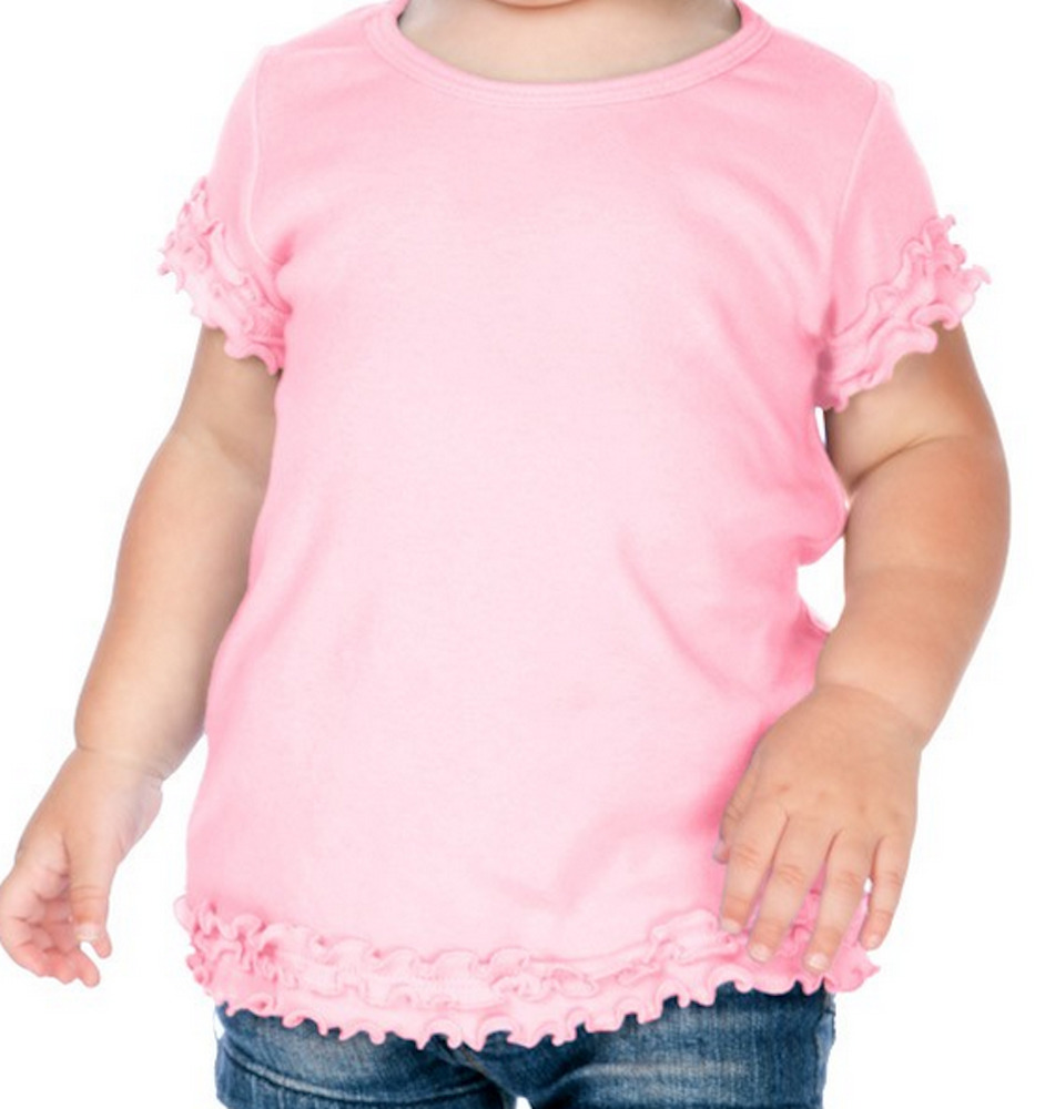 Blank Ruffle Trimmed Hem Girls T Shirt Tunic 100 Cotton