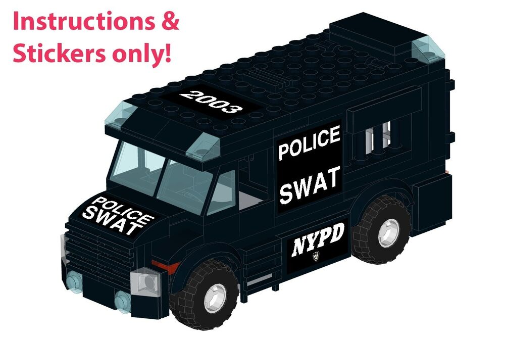 Lego Nypd Lapd Swat Armored Car Instructions Stickers 60043 Prisoner