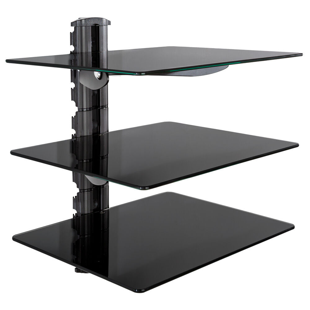 3 shelves cd dvd wii xbox ps4 wi fi tv universal wall shelf mount bracket black ebay. Black Bedroom Furniture Sets. Home Design Ideas