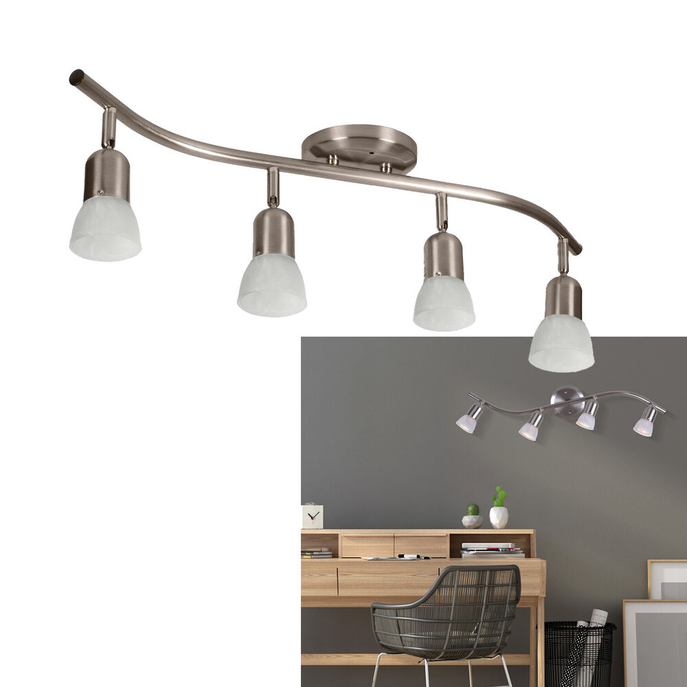 4 Light Track Lighting Ceiling Wall Adjustable Interior