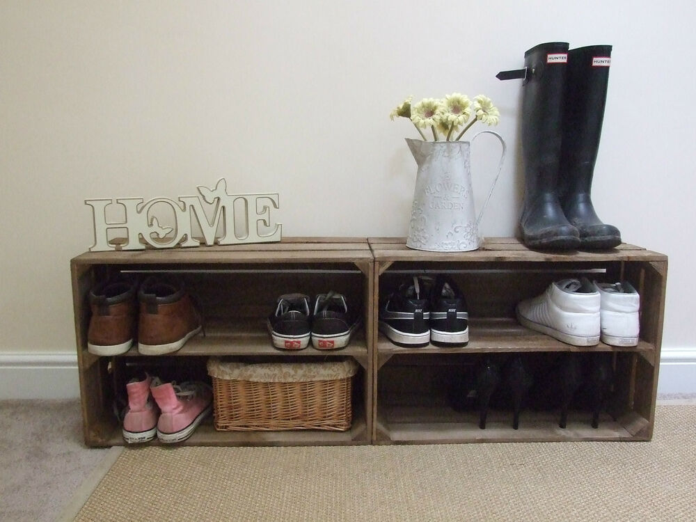 2 X SHABBY CHIC WOODEN SHOE RACK RUSTIC VINTAGE
