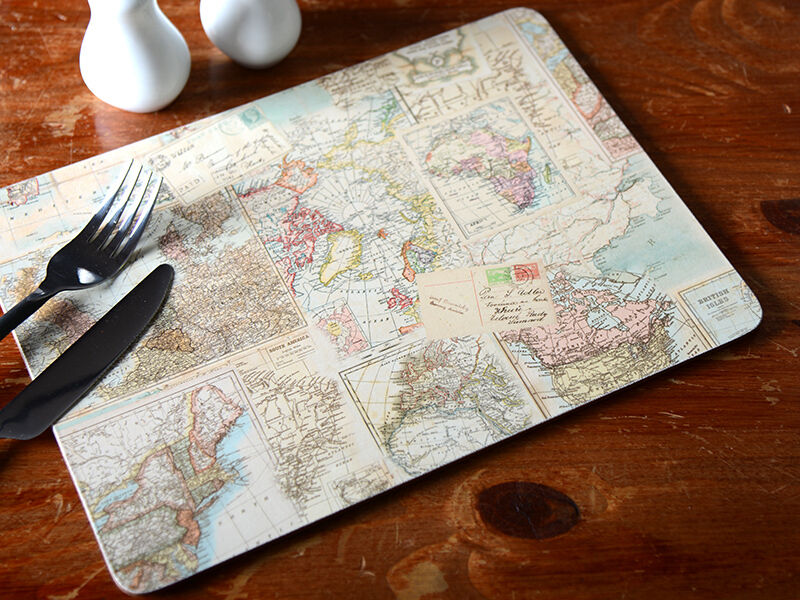 Set Of 4 Everyday Home Atlas Map Cork Backed Placemats