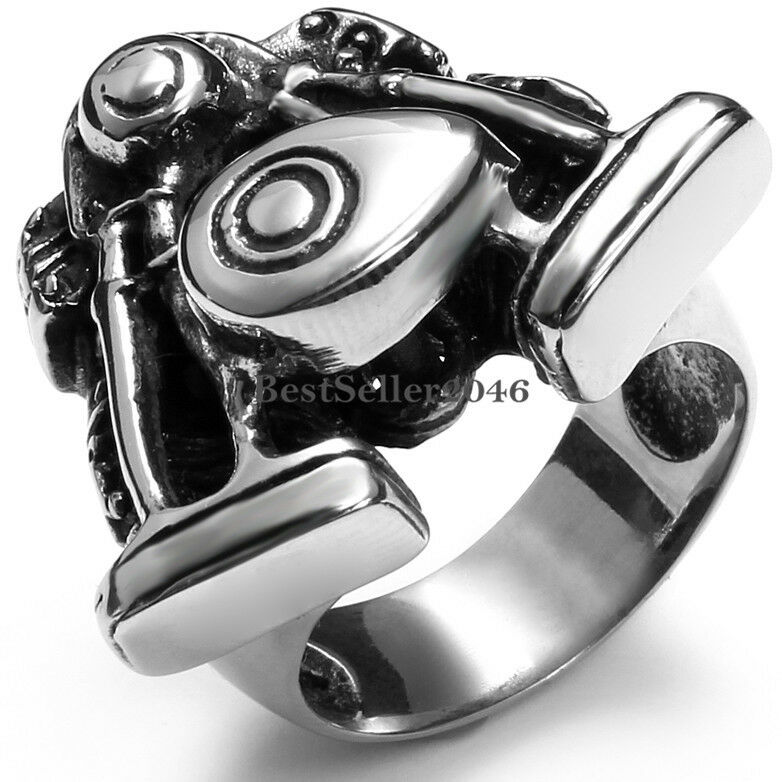 Black silver stainless steel motorcycle engine design for Biker jewelry stainless steel