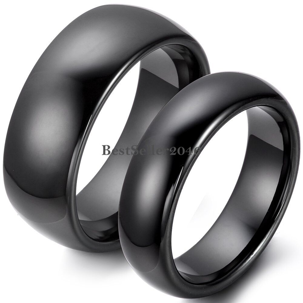 8mm / 6mm Polished Black Dome Ceramic Rings Couples