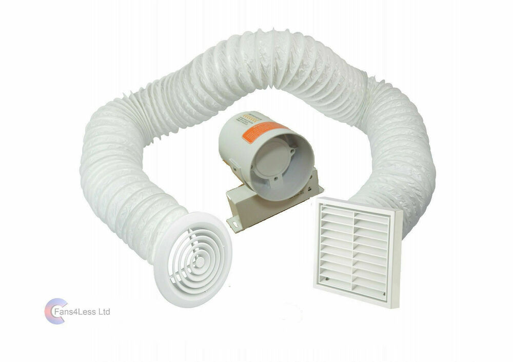 4 inline extractor fan with timer full kit for Bathroom extractor fan kit