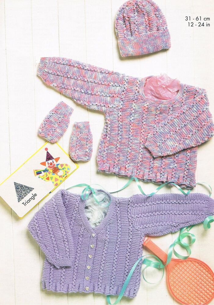 Baby Knitting Patterns Only : Premature Baby Lacy Cardigan Sweater Hat Knitting Pattern PATTERN ONLY-DK K26...