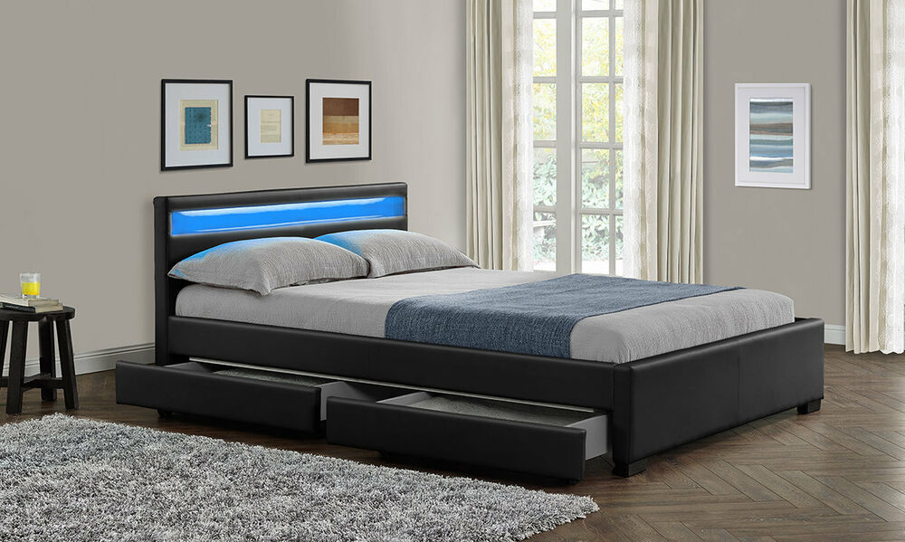 new double king size bed frame led headboard night light with storage mattress ebay. Black Bedroom Furniture Sets. Home Design Ideas