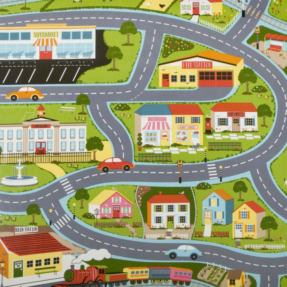 Fabric Roads For Toy Cars : Childs toy car play road map pvc wipeclean vinyl oilcloth