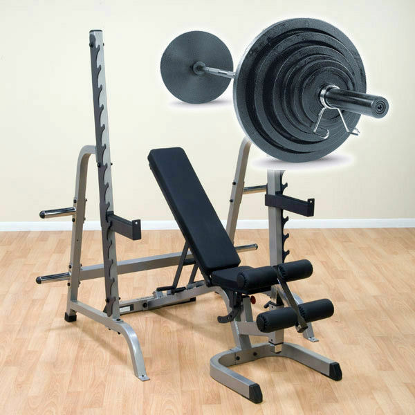 Body Solid Gpr370 Press Rack With Bench And 300lb Weight Set Black Bar Ebay