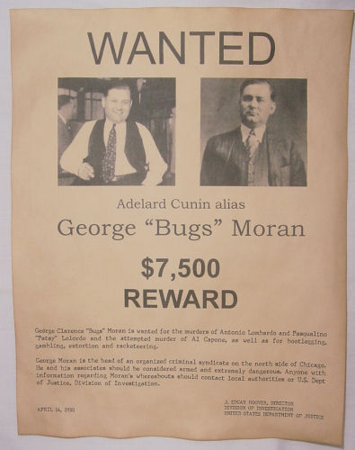 George Bugs Moran Wanted Poster, Gangster, Outlaw, Bank ... | 395 x 500 jpeg 32kB