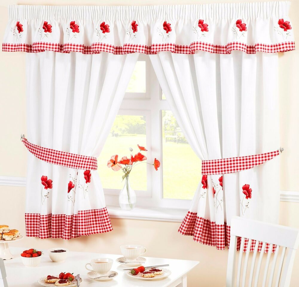 RED POPPY FLOWER VOILE CAFE NET CURTAIN PANEL KITCHEN CURTAINS