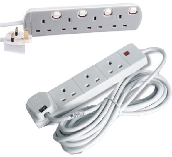 4 Gang Extension Lead 4 Socket Switched White 2m 3m 5m 10m