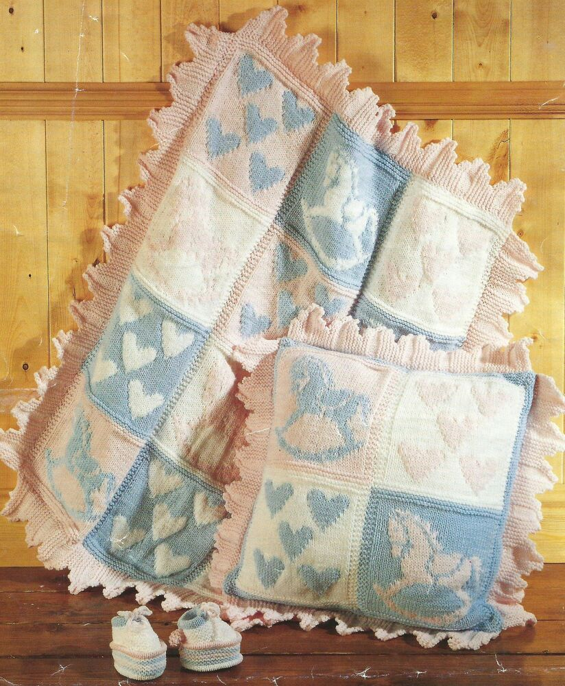 Baby Knitting Pattern Blanket Cushion Boots Hearts Horse scalloped edge Aran ...