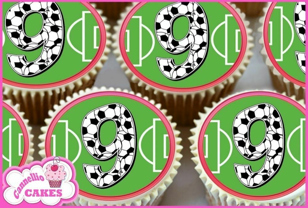 Edible Cake Images Football : 24 FOOTBALL BIRTHDAY 9TH RED EDIBLE CUPCAKE TOPPERS CAKE ...