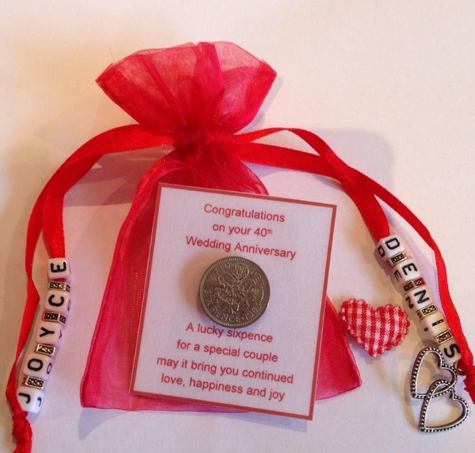 Personalised ruby wedding th anniversary sixpence gift